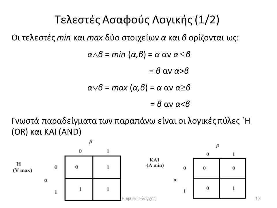 Τελεστές Ασαφούς Λογικής (1/2) Οι τελεστές min και max δύο στοιχείων α και β ορίζονται ως: α  β = min (α,β) = α αν α  β = β αν α>β α  β = max (α,β) = α αν α  β = β αν α<β Γνωστά παραδείγματα των παραπάνω είναι οι λογικές πύλες ´H (OR) και ΚΑΙ (AND) 17Ευφυής Έλεγχος