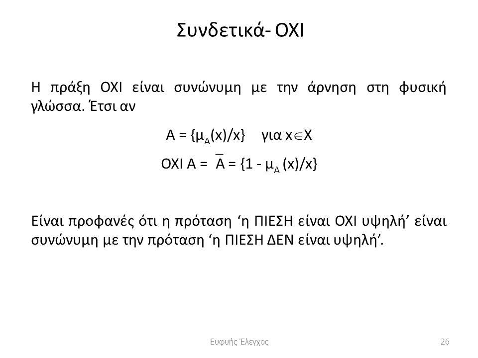 Συνδετικά- ΟΧΙ Η πράξη ΟΧΙ είναι συνώνυμη με την άρνηση στη φυσική γλώσσα.