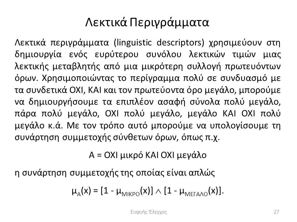 Λεκτικά Περιγράμματα Λεκτικά περιγράμματα (linguistic descriptors) χρησιμεύουν στη δημιουργία ενός ευρύτερου συνόλου λεκτικών τιμών μιας λεκτικής μεταβλητής από μια μικρότερη συλλογή πρωτευόντων όρων.