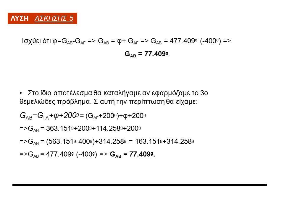 ΛΥΣΗ ΑΣΚΗΣΗΣ 5 Ισχύει ότι φ=G ΑΒ -G ΑΓ => G ΑΒ = φ+ G ΑΓ => G ΑΒ = 477.409 g (-400 g ) => G ΑΒ = 77.409 g.