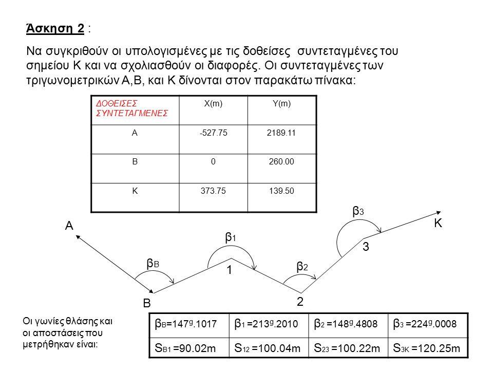 ΛΥΣΗ ΑΣΚΗΣΗΣ 2 Για να υπολογισθούν οι συντεταγμένες του σημείου Κ, πρέπει να εφαρμόσουμε διαδοχικά το 1ο θεμελιώδες πρόβλημα από το πρώτο σημείο μέχρι και το Κ.