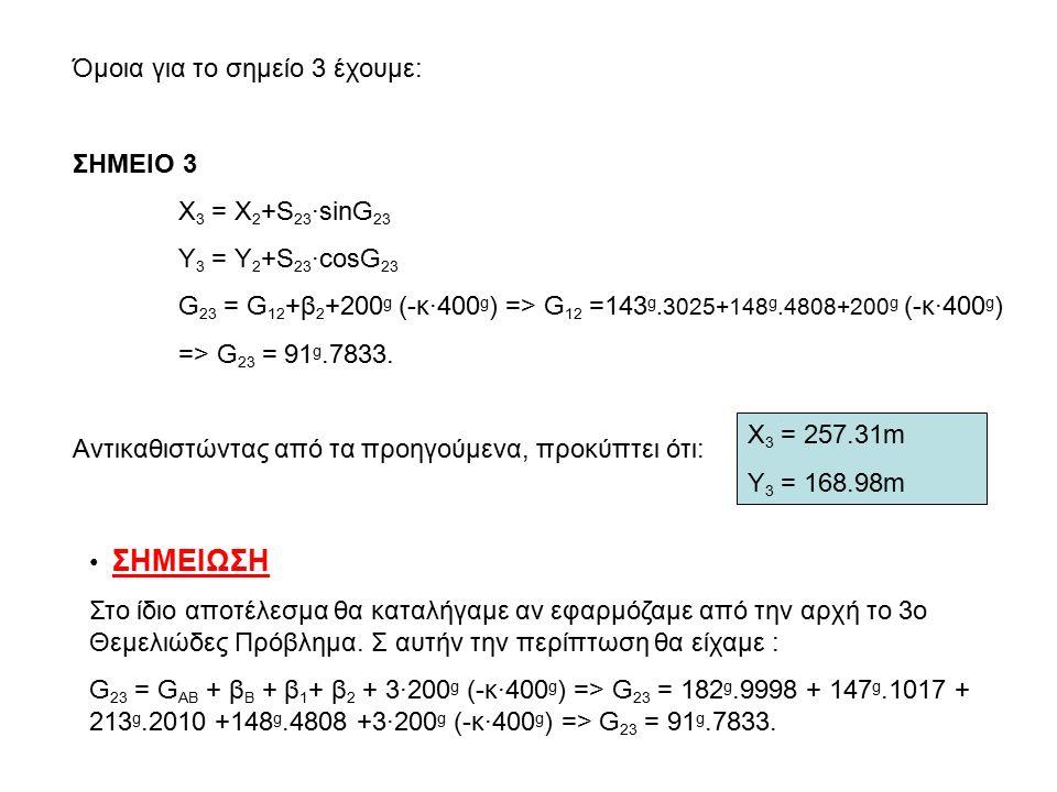 Όμοια για το σημείο 3 έχουμε: ΣΗΜΕΙΟ 3 Χ 3 = Χ 2 +S 23 ·sinG 23 Y 3 = Y 2 +S 23 ·cosG 23 G 23 = G 12 +β 2 +200 g (-κ·400 g ) => G 12 =143 g.3025+148 g.4808+200 g (-κ·400 g ) => G 23 = 91 g.7833.