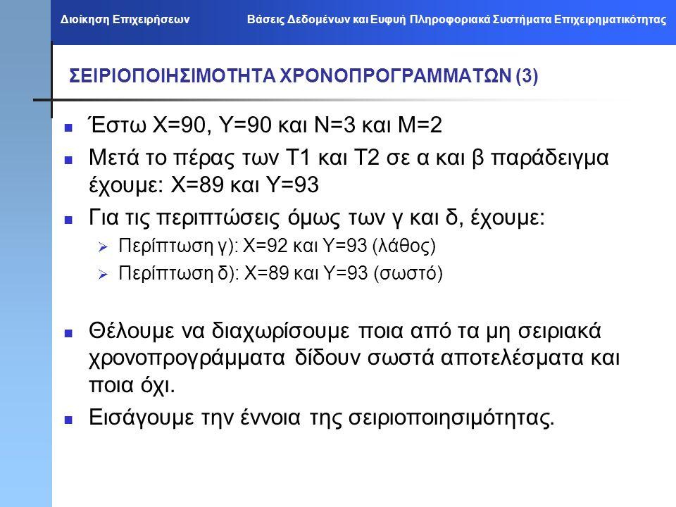Διοίκηση Επιχειρήσεων Βάσεις Δεδομένων και Ευφυή Πληροφοριακά Συστήματα Επιχειρηματικότητας ΣΕΙΡΙΟΠΟΙΗΣΙΜΟΤΗΤΑ ΧΡΟΝΟΠΡΟΓΡΑΜΜΑΤΩΝ (3) Έστω Χ=90, Υ=90 και Ν=3 και Μ=2 Μετά το πέρας των Τ1 και Τ2 σε α και β παράδειγμα έχουμε: Χ=89 και Υ=93 Για τις περιπτώσεις όμως των γ και δ, έχουμε:  Περίπτωση γ): Χ=92 και Υ=93 (λάθος)  Περίπτωση δ): Χ=89 και Υ=93 (σωστό) Θέλουμε να διαχωρίσουμε ποια από τα μη σειριακά χρονοπρογράμματα δίδουν σωστά αποτελέσματα και ποια όχι.