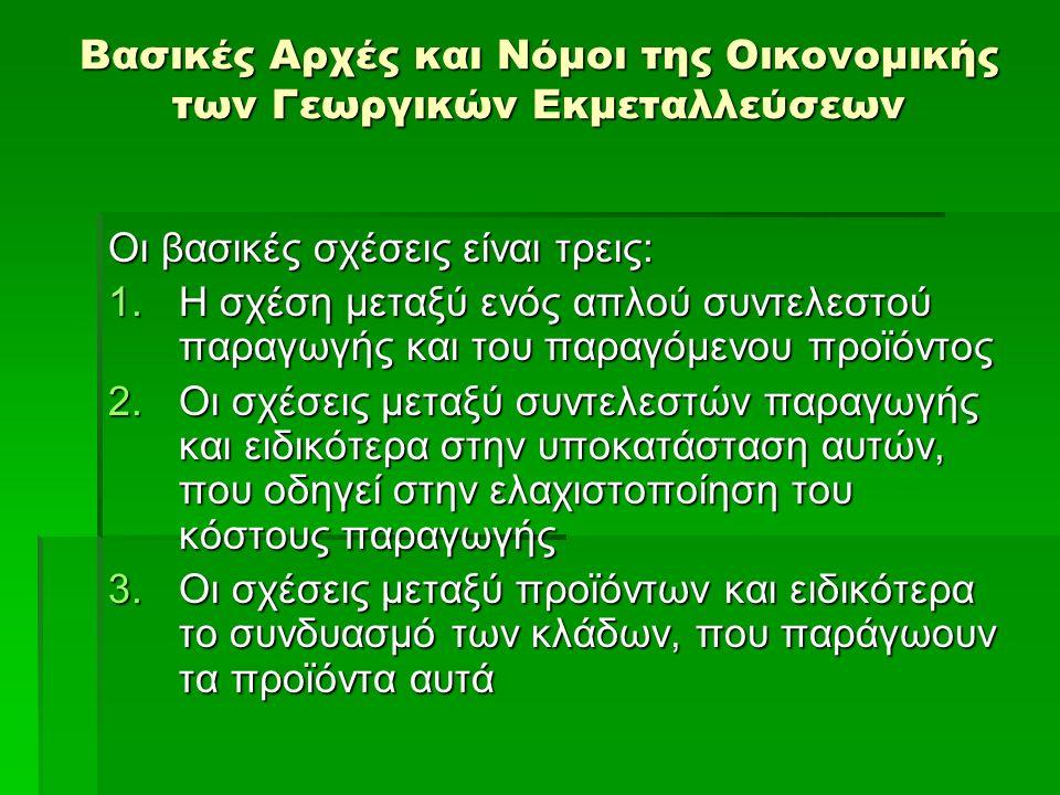 Βασικές Αρχές και Νόμοι της Οικονομικής των Γεωργικών Εκμεταλλεύσεων Οι βασικές σχέσεις είναι τρεις: 1.Η σχέση μεταξύ ενός απλού συντελεστού παραγωγής και του παραγόμενου προϊόντος 2.Οι σχέσεις μεταξύ συντελεστών παραγωγής και ειδικότερα στην υποκατάσταση αυτών, που οδηγεί στην ελαχιστοποίηση του κόστους παραγωγής 3.Οι σχέσεις μεταξύ προϊόντων και ειδικότερα το συνδυασμό των κλάδων, που παράγωουν τα προϊόντα αυτά