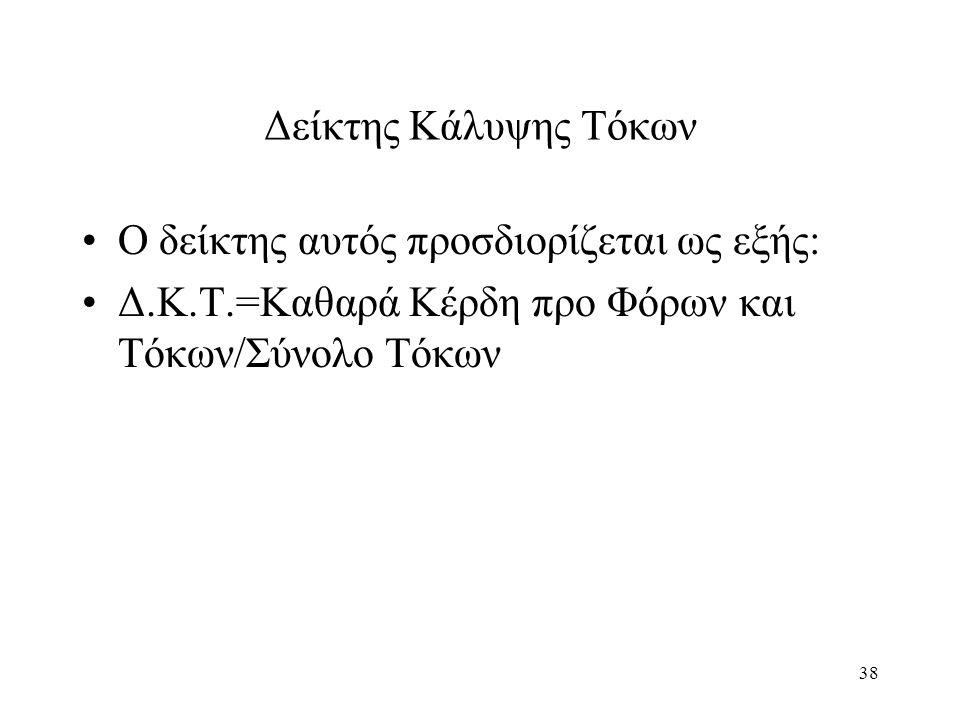 38 Δείκτης Κάλυψης Τόκων Ο δείκτης αυτός προσδιορίζεται ως εξής: Δ.Κ.Τ.=Καθαρά Κέρδη προ Φόρων και Τόκων/Σύνολο Τόκων