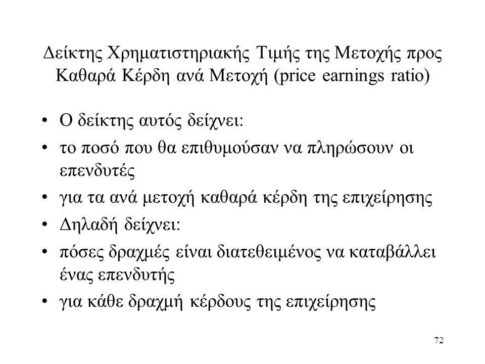 72 Δείκτης Χρηματιστηριακής Τιμής της Μετοχής προς Καθαρά Κέρδη ανά Μετοχή (price earnings ratio) Ο δείκτης αυτός δείχνει: το ποσό που θα επιθυμούσαν να πληρώσουν οι επενδυτές για τα ανά μετοχή καθαρά κέρδη της επιχείρησης Δηλαδή δείχνει: πόσες δραχμές είναι διατεθειμένος να καταβάλλει ένας επενδυτής για κάθε δραχμή κέρδους της επιχείρησης