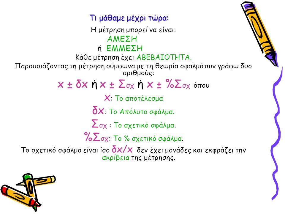 Ακόμα μάθαμε Σε Άμεση μέτρηση (Όργανο) Το x είναι το αποτέλεσμα της μίας μέτρησης.