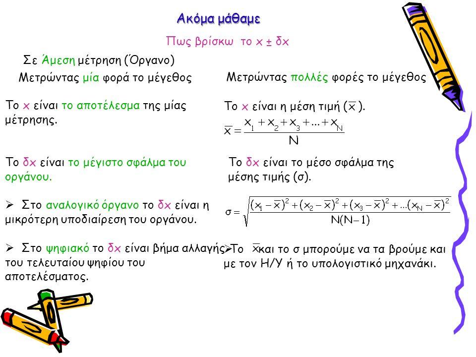 Ακόμα μάθαμε Σε Άμεση μέτρηση (Όργανο) Το x είναι το αποτέλεσμα της μίας μέτρησης. Το δx είναι το μέγιστο σφάλμα του οργάνου.  Στο αναλογικό όργανο τ