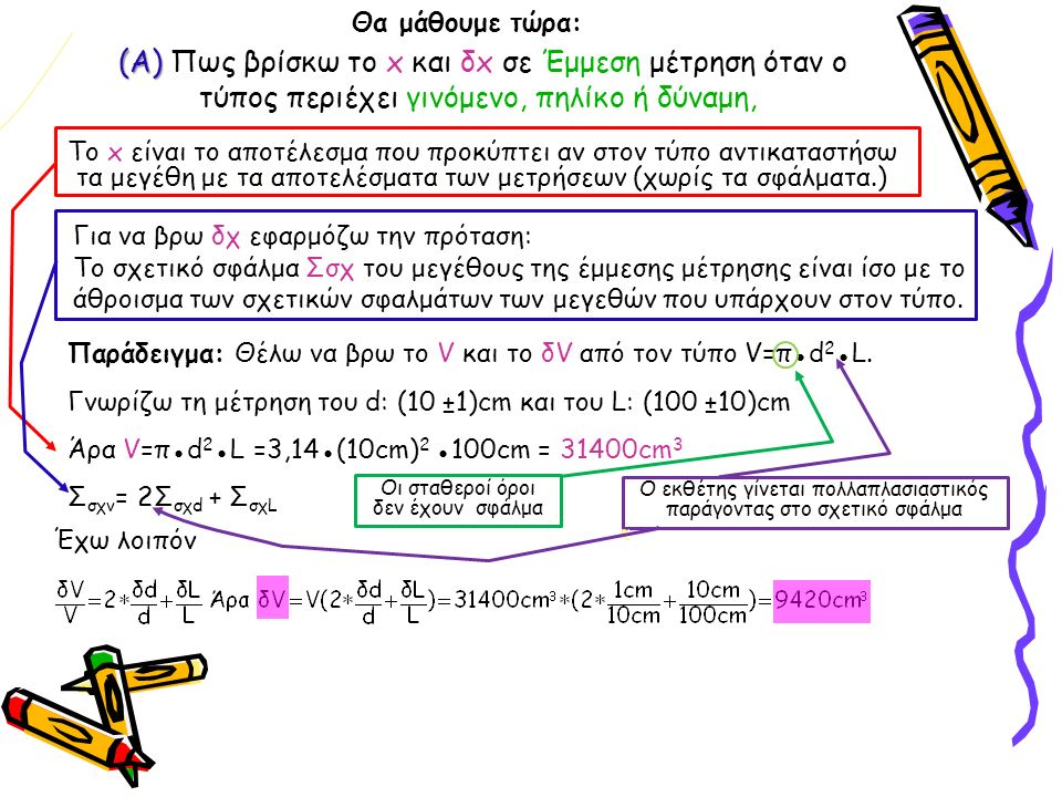 (Α) (Α) Πως βρίσκω το x και δx σε Έμμεση μέτρηση όταν ο τύπος περιέχει γινόμενο, πηλίκο ή δύναμη, Παράδειγμα: Θέλω να βρω το V και το δV από τον τύπο V=π●d 2 ●L.