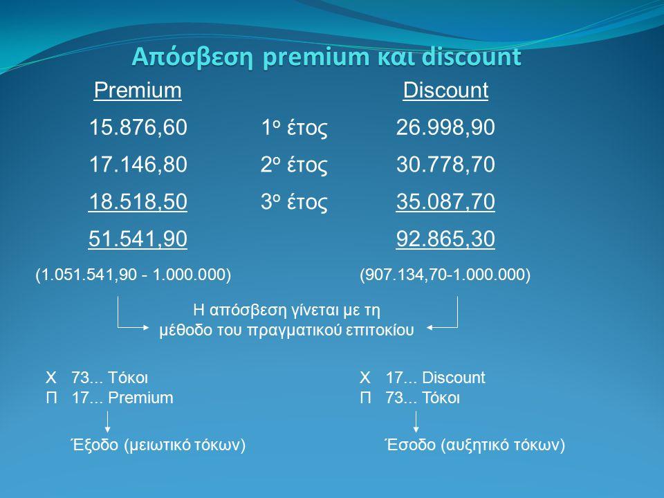 Απόσβεση premium και discount PremiumDiscount 15.876,601 ο έτος26.998,90 17.146,802 ο έτος30.778,70 18.518,503 ο έτος35.087,70 51.541,9092.865,30 Χ17...