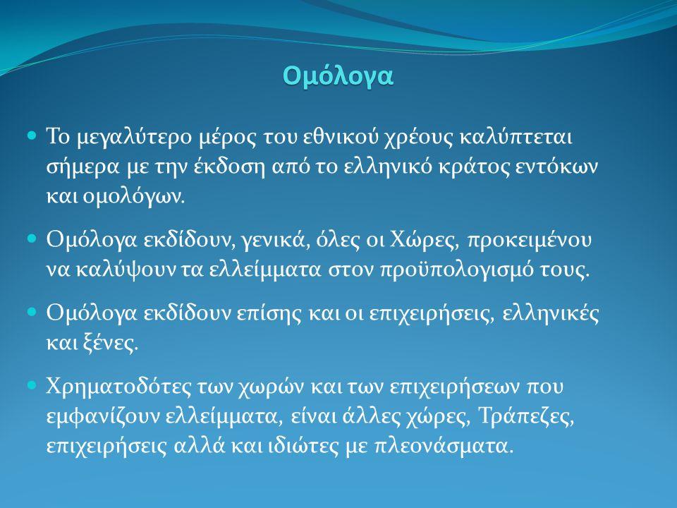 Το μεγαλύτερο μέρος του εθνικού χρέους καλύπτεται σήμερα με την έκδοση από το ελληνικό κράτος εντόκων και ομολόγων.