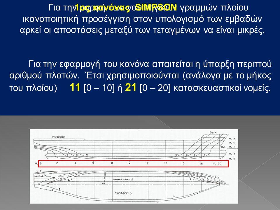 Για την μορφή των ναυπηγικών γραμμών πλοίου ικανοποιητική προσέγγιση στον υπολογισμό των εμβαδών αρκεί οι αποστάσεις μεταξύ των τεταγμένων να είναι μικρές.