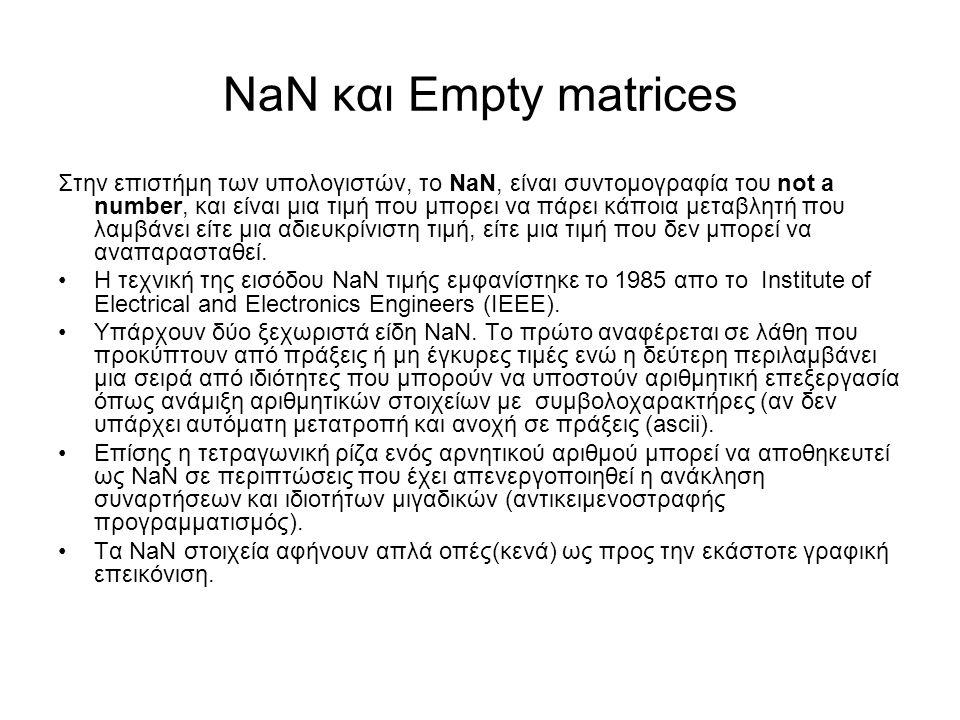 ΝaN και Empty matrices Στην επιστήμη των υπολογιστών, το NaN, είναι συντομογραφία του not a number, και είναι μια τιμή που μπορει να πάρει κάποια μεταβλητή που λαμβάνει είτε μια αδιευκρίνιστη τιμή, είτε μια τιμή που δεν μπορεί να αναπαρασταθεί.