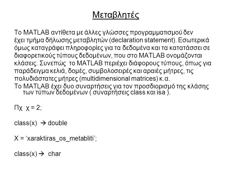 Το MATLAB αντίθετα µε άλλες γλώσσες προγραµµατισµού δεν έχει τµήµα δήλωσης µεταβλητών (declaration statement).