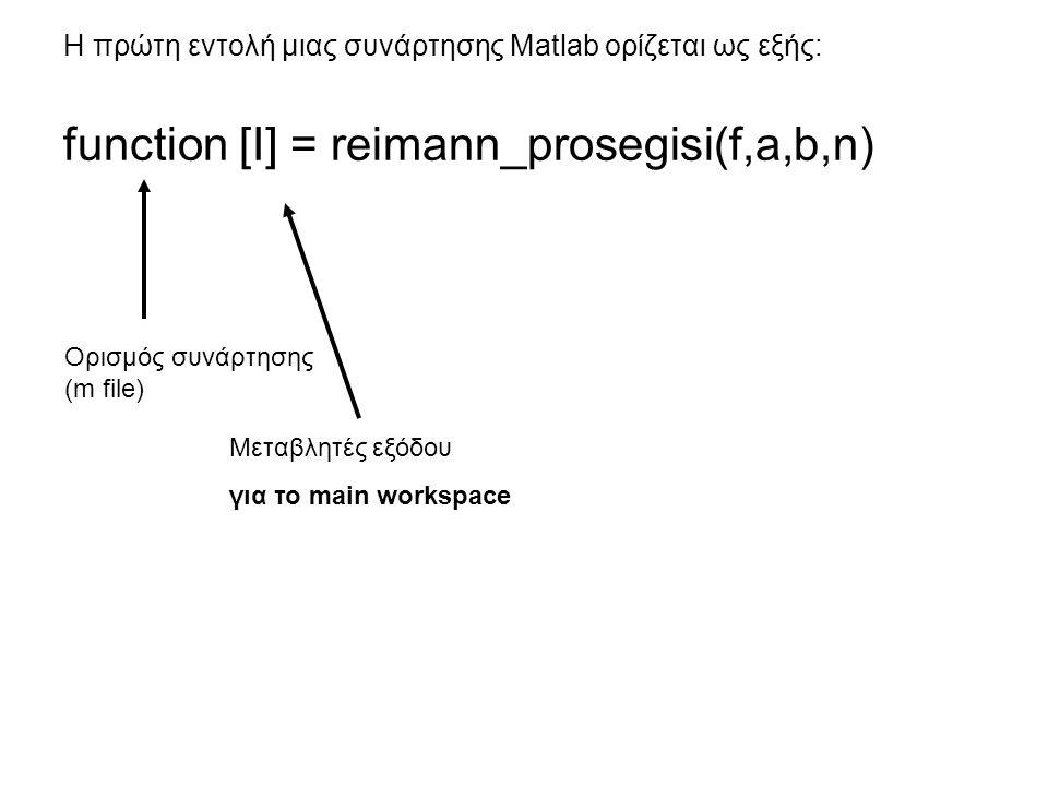 Η πρώτη εντολή μιας συνάρτησης Matlab ορίζεται ως εξής: function [I] = reimann_prosegisi(f,a,b,n) Ορισμός συνάρτησης (m file) Μεταβλητές εξόδου για το main workspace