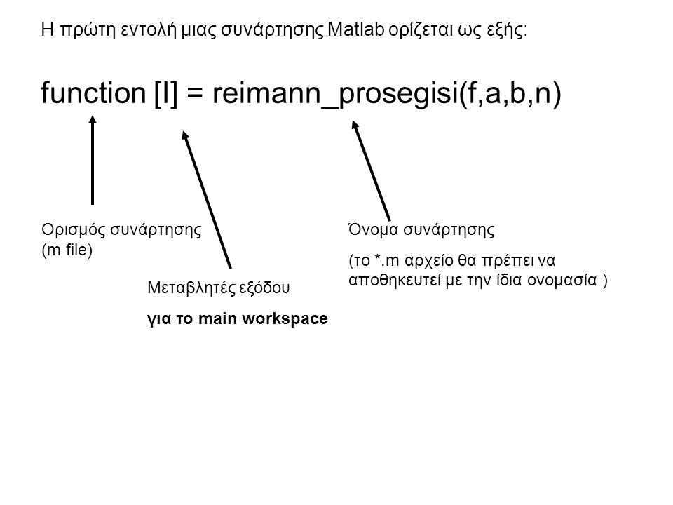 Η πρώτη εντολή μιας συνάρτησης Matlab ορίζεται ως εξής: function [I] = reimann_prosegisi(f,a,b,n) Ορισμός συνάρτησης (m file) Μεταβλητές εξόδου για το main workspace Όνομα συνάρτησης (το *.m αρχείο θα πρέπει να αποθηκευτεί με την ίδια ονομασία )