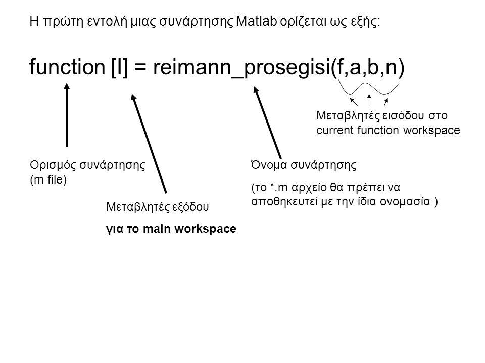 Η πρώτη εντολή μιας συνάρτησης Matlab ορίζεται ως εξής: function [I] = reimann_prosegisi(f,a,b,n) Ορισμός συνάρτησης (m file) Μεταβλητές εξόδου για το main workspace Όνομα συνάρτησης (το *.m αρχείο θα πρέπει να αποθηκευτεί με την ίδια ονομασία ) Μεταβλητές εισόδου στο current function workspace