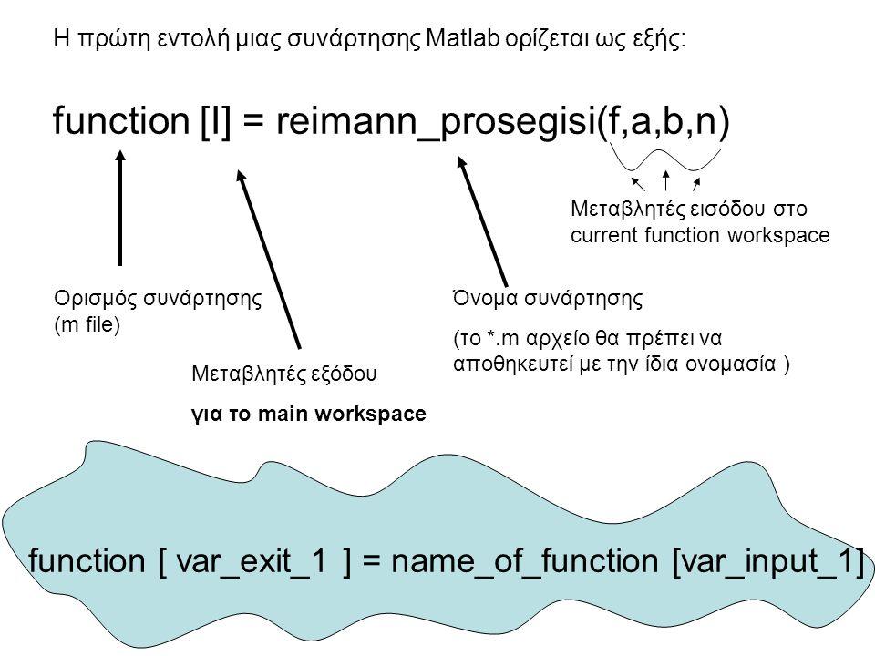 Η πρώτη εντολή μιας συνάρτησης Matlab ορίζεται ως εξής: function [I] = reimann_prosegisi(f,a,b,n) Ορισμός συνάρτησης (m file) Μεταβλητές εξόδου για το main workspace Όνομα συνάρτησης (το *.m αρχείο θα πρέπει να αποθηκευτεί με την ίδια ονομασία ) Μεταβλητές εισόδου στο current function workspace function [ var_exit_1 ] = name_of_function [var_input_1]