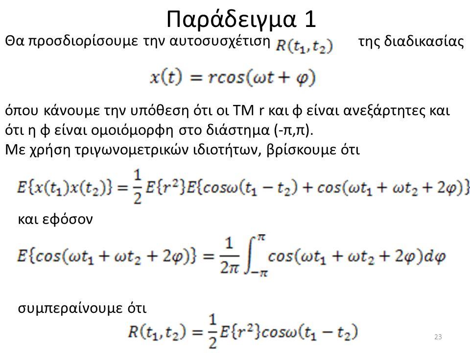 Θα προσδιορίσουμε την αυτοσυσχέτιση της διαδικασίας όπου κάνουμε την υπόθεση ότι οι ΤΜ r και φ είναι ανεξάρτητες και ότι η φ είναι ομοιόμορφη στο διάστημα (-π,π).