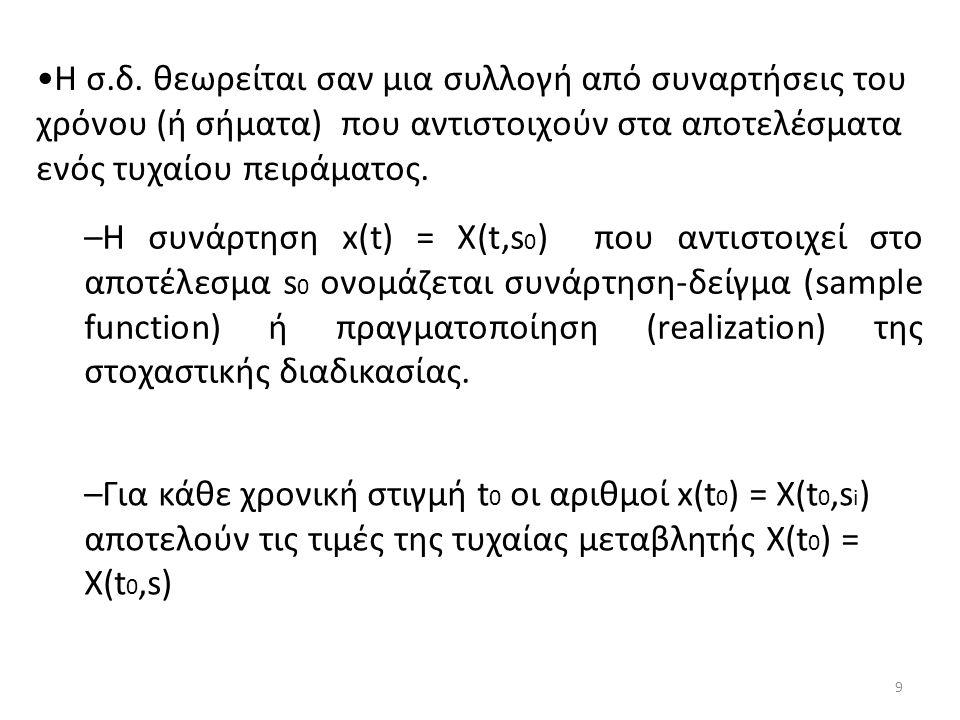 Η σ.δ. θεωρείται σαν μια συλλογή από συναρτήσεις του χρόνου (ή σήματα) που αντιστοιχούν στα αποτελέσματα ενός τυχαίου πειράματος. –Η συνάρτηση x(t) =