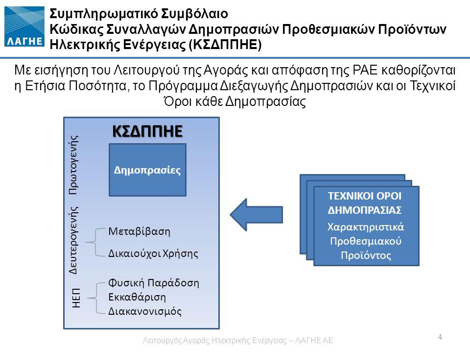 Συμπληρωματικό Συμβόλαιο Κώδικας Συναλλαγών Δημοπρασιών Προθεσμιακών Προϊόντων Ηλεκτρικής Ενέργειας (ΚΣΔΠΠΗΕ) Με εισήγηση του Λειτουργού της Αγοράς και απόφαση της ΡΑΕ καθορίζονται η Ετήσια Ποσότητα, το Πρόγραμμα Διεξαγωγής Δημοπρασιών και οι Τεχνικοί Όροι κάθε Δημοπρασίας ΚΣΔΠΠΗΕ Δημοπρασίες Μεταβίβαση Δικαιούχοι Χρήσης Χαρακτηριστικά Προθεσμιακού Προϊόντος Πρωτογενής Δευτερογενής 4 Φυσική Παράδοση Εκκαθάριση Διακανονισμός ΗΕΠ ΤΕΧΝΙΚΟΙ ΟΡΟΙ ΔΗΜΟΠΡΑΣΙΑΣ Λειτουργός Αγοράς Ηλεκτρικής Ενέργειας – ΛΑΓΗΕ ΑΕ