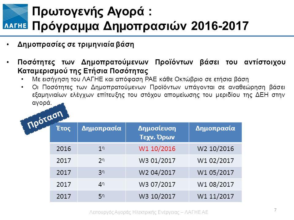 Πρωτογενής Αγορά : Πρόγραμμα Δημοπρασιών 2016-2017 7 Δημοπρασίες σε τριμηνιαία βάση Ποσότητες των Δημοπρατούμενων Προϊόντων βάσει του αντίστοιχου Καταμερισμού της Ετήσια Ποσότητας Με εισήγηση του ΛΑΓΗΕ και απόφαση ΡΑΕ κάθε Οκτώβριο σε ετήσια βάση Οι Ποσότητες των Δημοπρατούμενων Προϊόντων υπάγονται σε αναθεώρηση βάσει εξαμηνιαίων ελέγχων επίτευξης του στόχου απομείωσης του μεριδίου της ΔΕΗ στην αγορά.