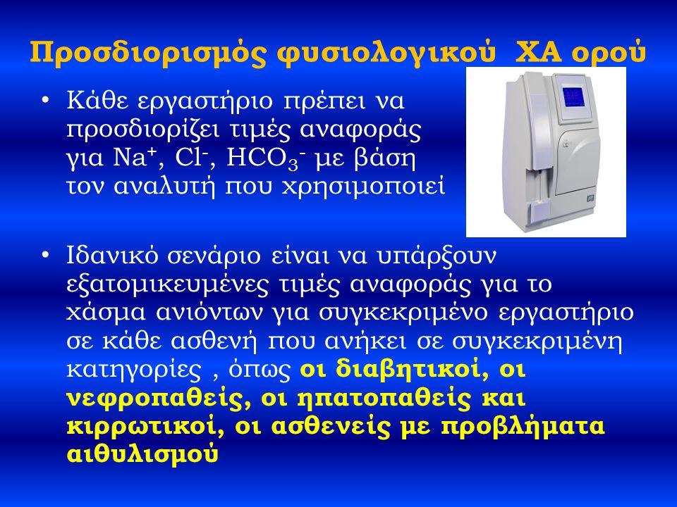 Προσδιορισμός φυσιολογικού ΧΑ ορού Κάθε εργαστήριο πρέπει να προσδιορίζει τιμές αναφοράς για Na +, Cl -, HCO 3 - με βάση τον αναλυτή που χρησιμοποιεί Ιδανικό σενάριο είναι να υπάρξουν εξατομικευμένες τιμές αναφοράς για το χάσμα ανιόντων για συγκεκριμένο εργαστήριο σε κάθε ασθενή που ανήκει σε συγκεκριμένη κατηγορίες, όπως οι διαβητικοί, οι νεφροπαθείς, οι ηπατοπαθείς και κιρρωτικοί, οι ασθενείς με προβλήματα αιθυλισμού