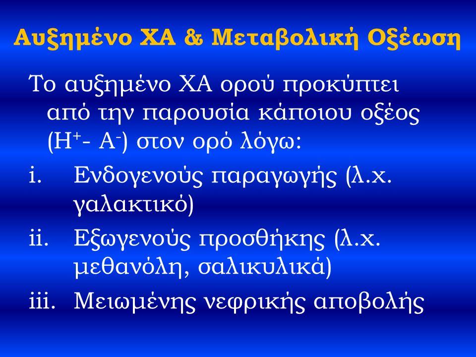 Αυξημένο ΧΑ & Μεταβολική Οξέωση Το αυξημένο ΧΑ ορού προκύπτει από την παρουσία κάποιου οξέος (H + - A - ) στον ορό λόγω: i.Ενδογενούς παραγωγής (λ.χ.