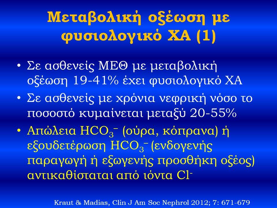 Μεταβολική οξέωση με φυσιολογικό ΧΑ (1) Σε ασθενείς ΜΕΘ με μεταβολική οξέωση 19-41% έχει φυσιολογικό ΧΑ Σε ασθενείς με χρόνια νεφρική νόσο το ποσοστό κυμαίνεται μεταξύ 20-55% Απώλεια HCO 3 – (ούρα, κόπρανα) ή εξουδετέρωση HCO 3 – (ενδογενής παραγωγή ή εξωγενής προσθήκη οξέος) αντικαθίσταται από ιόντα Cl - Kraut & Madias, Clin J Am Soc Nephrol 2012; 7: 671-679