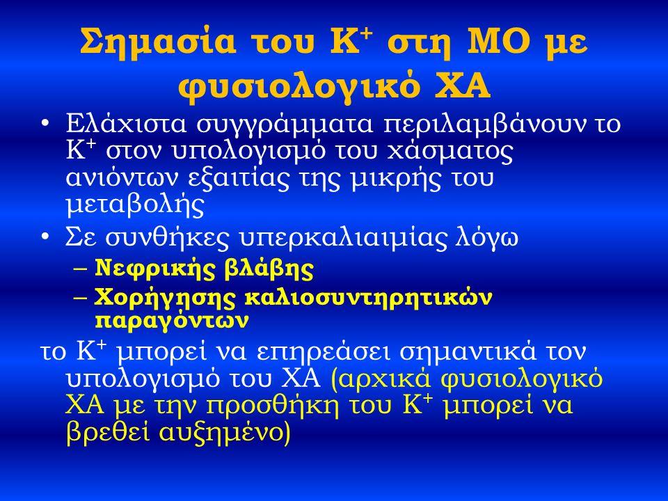 Σημασία του K + στη ΜΟ με φυσιολογικό ΧΑ Ελάχιστα συγγράμματα περιλαμβάνουν το K + στον υπολογισμό του χάσματος ανιόντων εξαιτίας της μικρής του μεταβολής Σε συνθήκες υπερκαλιαιμίας λόγω – Νεφρικής βλάβης – Χορήγησης καλιοσυντηρητικών παραγόντων το K + μπορεί να επηρεάσει σημαντικά τον υπολογισμό του ΧΑ (αρχικά φυσιολογικό ΧΑ με την προσθήκη του K + μπορεί να βρεθεί αυξημένο)