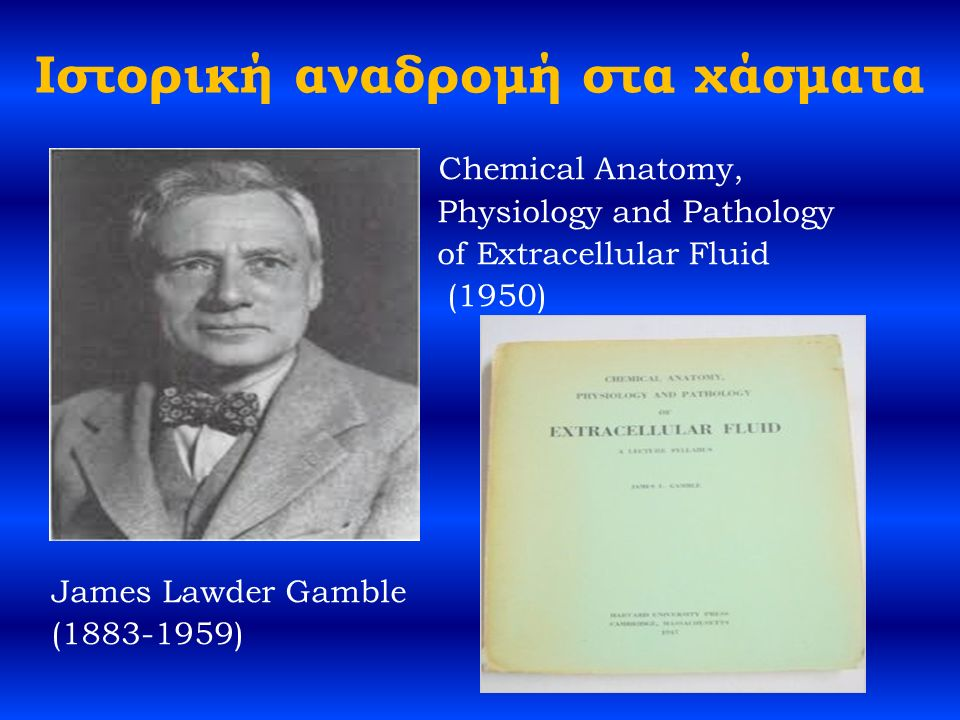 Ιστορική αναδρομή στα χάσματα Chemical Anatomy, Physiology and Pathology of Extracellular Fluid (1950) James Lawder Gamble (1883-1959)