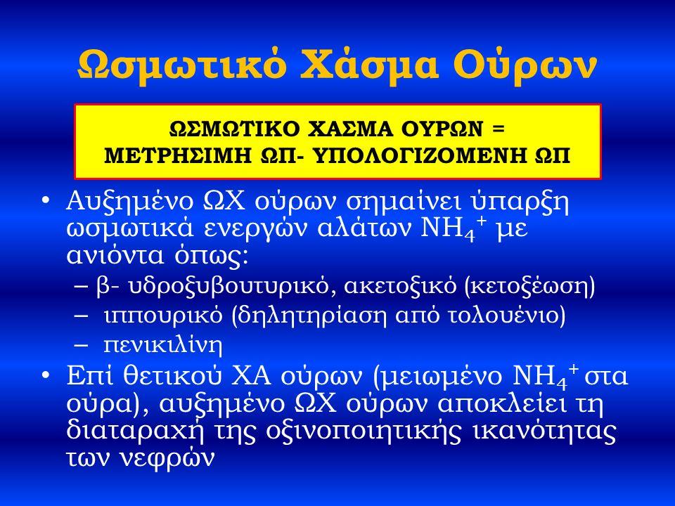 Ωσμωτικό Χάσμα Ούρων Αυξημένο ΩΧ ούρων σημαίνει ύπαρξη ωσμωτικά ενεργών αλάτων NH 4 + με ανιόντα όπως: – β- υδροξυβουτυρικό, ακετοξικό (κετοξέωση) – ιππουρικό (δηλητηρίαση από τολουένιο) – πενικιλίνη Επί θετικού ΧΑ ούρων (μειωμένο NH 4 + στα ούρα), αυξημένο ΩΧ ούρων αποκλείει τη διαταραχή της οξινοποιητικής ικανότητας των νεφρών ΩΣΜΩΤΙΚΟ ΧΑΣΜΑ ΟΥΡΩΝ = ΜΕΤΡΗΣΙΜΗ ΩΠ- ΥΠΟΛΟΓΙΖΟΜΕΝΗ ΩΠ