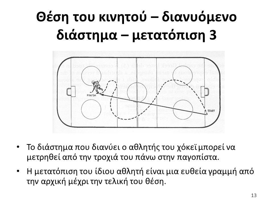 Θέση του κινητού – διανυόμενο διάστημα – μετατόπιση 3 Το διάστημα που διανύει ο αθλητής του χόκεϊ μπορεί να μετρηθεί από την τροχιά του πάνω στην παγοπίστα.