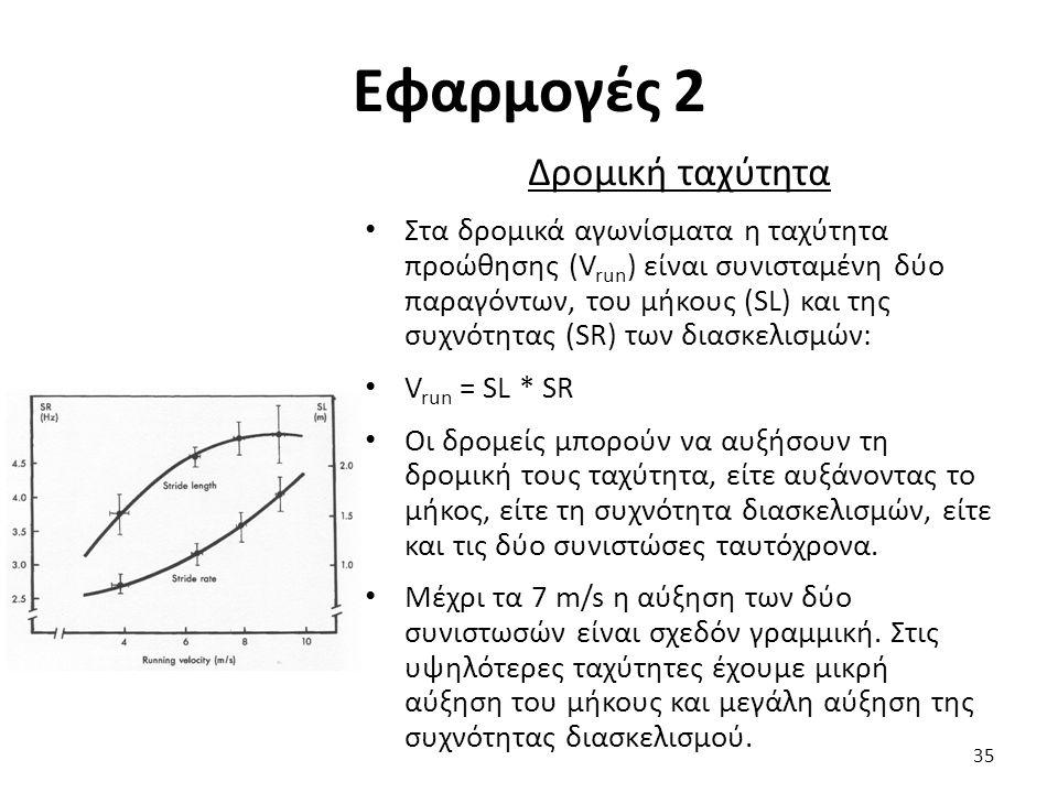 Εφαρμογές 2 Δρομική ταχύτητα Στα δρομικά αγωνίσματα η ταχύτητα προώθησης (V run ) είναι συνισταμένη δύο παραγόντων, του μήκους (SL) και της συχνότητας (SR) των διασκελισμών: V run = SL * SR Οι δρομείς μπορούν να αυξήσουν τη δρομική τους ταχύτητα, είτε αυξάνοντας το μήκος, είτε τη συχνότητα διασκελισμών, είτε και τις δύο συνιστώσες ταυτόχρονα.