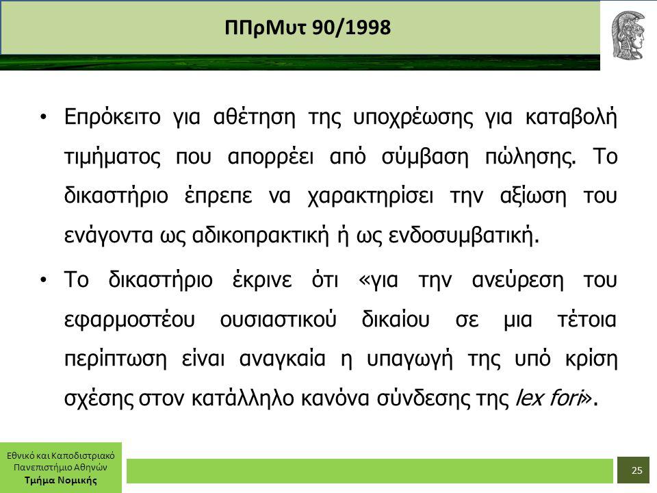 Εθνικό και Καποδιστριακό Πανεπιστήμιο Αθηνών Τμήμα Νομικής ΠΠρΜυτ 90/1998 Επρόκειτο για αθέτηση της υποχρέωσης για καταβολή τιμήματος που απορρέει από