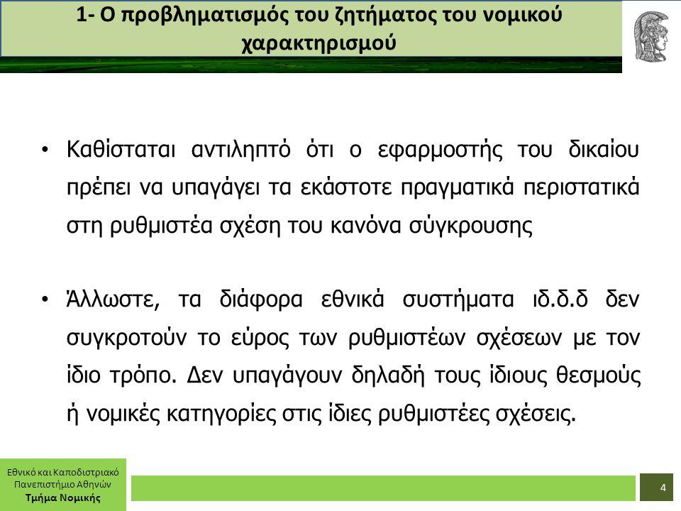Εθνικό και Καποδιστριακό Πανεπιστήμιο Αθηνών Τμήμα Νομικής 1- Ο προβληματισμός του ζητήματος του νομικού χαρακτηρισμού Καθίσταται αντιληπτό ότι ο εφαρμοστής του δικαίου πρέπει να υπαγάγει τα εκάστοτε πραγματικά περιστατικά στη ρυθμιστέα σχέση του κανόνα σύγκρουσης Άλλωστε, τα διάφορα εθνικά συστήματα ιδ.δ.δ δεν συγκροτούν το εύρος των ρυθμιστέων σχέσεων με τον ίδιο τρόπο.