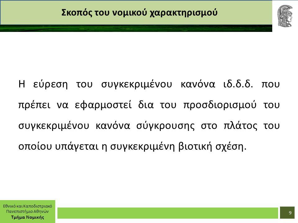 Εθνικό και Καποδιστριακό Πανεπιστήμιο Αθηνών Τμήμα Νομικής Σκοπός του νομικού χαρακτηρισμού Η εύρεση του συγκεκριμένου κανόνα ιδ.δ.δ. που πρέπει να εφ