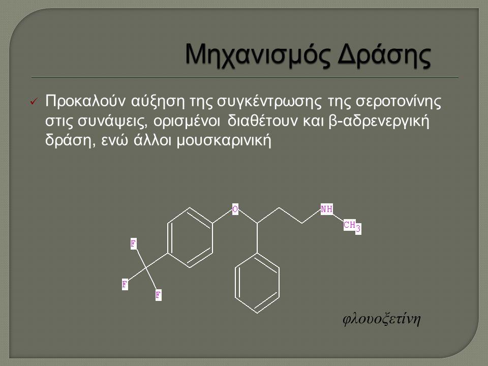 Προκαλούν αύξηση της συγκέντρωσης της σεροτονίνης στις συνάψεις, ορισμένοι διαθέτουν και β-αδρενεργική δράση, ενώ άλλοι μουσκαρινική φλουοξετίνη