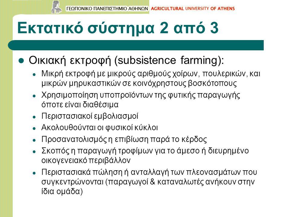 Εκτατικό σύστημα 2 από 3 Οικιακή εκτροφή (subsistence farming): Μικρή εκτροφή με μικρούς αριθμούς χοίρων, πουλερικών, και μικρών μηρυκαστικών σε κοινόχρηστους βοσκότοπους Χρησιμοποίηση υποπροϊόντων της φυτικής παραγωγής όποτε είναι διαθέσιμα Περιστασιακοί εμβολιασμοί Ακολουθούνται οι φυσικοί κύκλοι Προσανατολισμός η επιβίωση παρά το κέρδος Σκοπός η παραγωγή τροφίμων για το άμεσο ή διευρημένο οικογενειακό περιβάλλον Περιστασιακά πώληση ή ανταλλαγή των πλεονασμάτων που συγκεντρώνονται (παραγωγοί & καταναλωτές ανήκουν στην ίδια ομάδα)