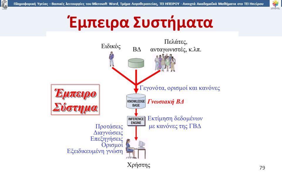 7979 Πληροφορική Υγείας – Βασικές λειτουργίες του Microsoft Word, Τμήμα Λογοθεραπείας, ΤΕΙ ΗΠΕΙΡΟΥ - Ανοιχτά Ακαδημαϊκά Μαθήματα στο ΤΕΙ Ηπείρου Έμπειρα Συστήματα 79