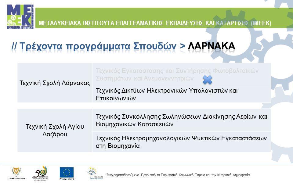 Συγχρηματοδοτούμενο Έργο από το Ευρωπαϊκό Κοινωνικό Ταμείο και την Κυπριακή Δημοκρατία ΜΕΤΑΛΥΚΕΙΑΚΑ ΙΝΣΤΙΤΟΥΤΑ ΕΠΑΓΓΕΛΜΑΤΙΚΗΣ ΕΚΠΑΙΔΕΥΣΗΣ ΚΑΙ ΚΑΤΑΡΤΙΣ