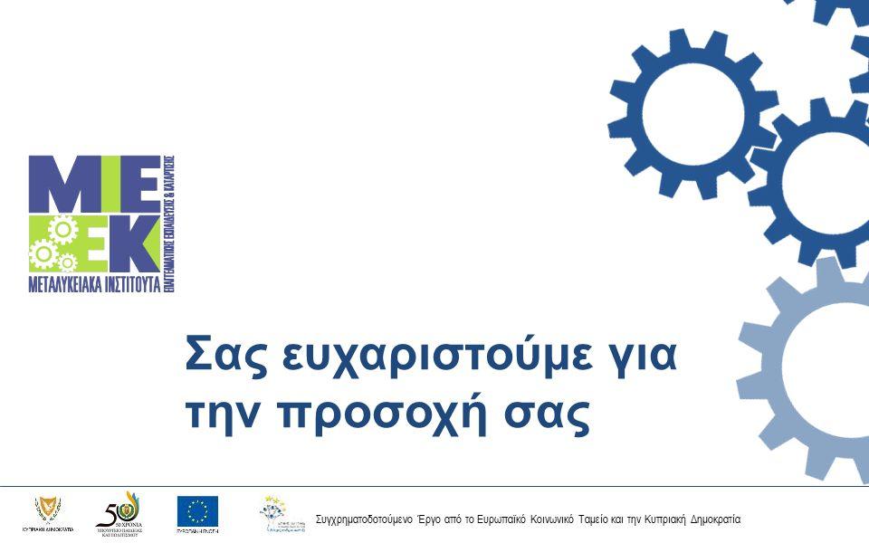 Συγχρηματοδοτούμενο Έργο από το Ευρωπαϊκό Κοινωνικό Ταμείο και την Κυπριακή Δημοκρατία Σας ευχαριστούμε για την προσοχή σας