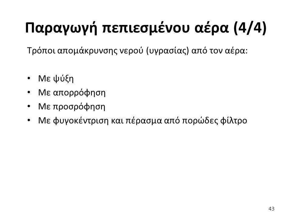 Τρόποι απομάκρυνσης νερού (υγρασίας) από τον αέρα: Με ψύξη Με απορρόφηση Με προσρόφηση Με φυγοκέντριση και πέρασμα από πορώδες φίλτρο 43 Παραγωγή πεπι