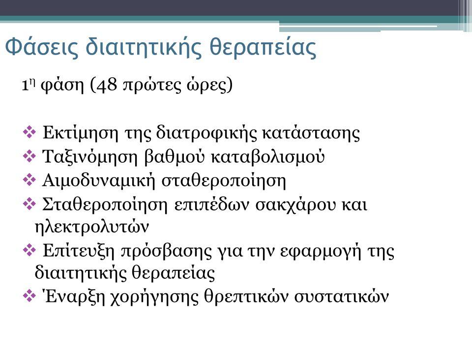 1 η φάση (48 πρώτες ώρες)  Εκτίμηση της διατροφικής κατάστασης  Ταξινόμηση βαθμού καταβολισμού  Αιμοδυναμική σταθεροποίηση  Σταθεροποίηση επιπέδων σακχάρου και ηλεκτρολυτών  Επίτευξη πρόσβασης για την εφαρμογή της διαιτητικής θεραπείας  Έναρξη χορήγησης θρεπτικών συστατικών Φάσεις διαιτητικής θεραπείας