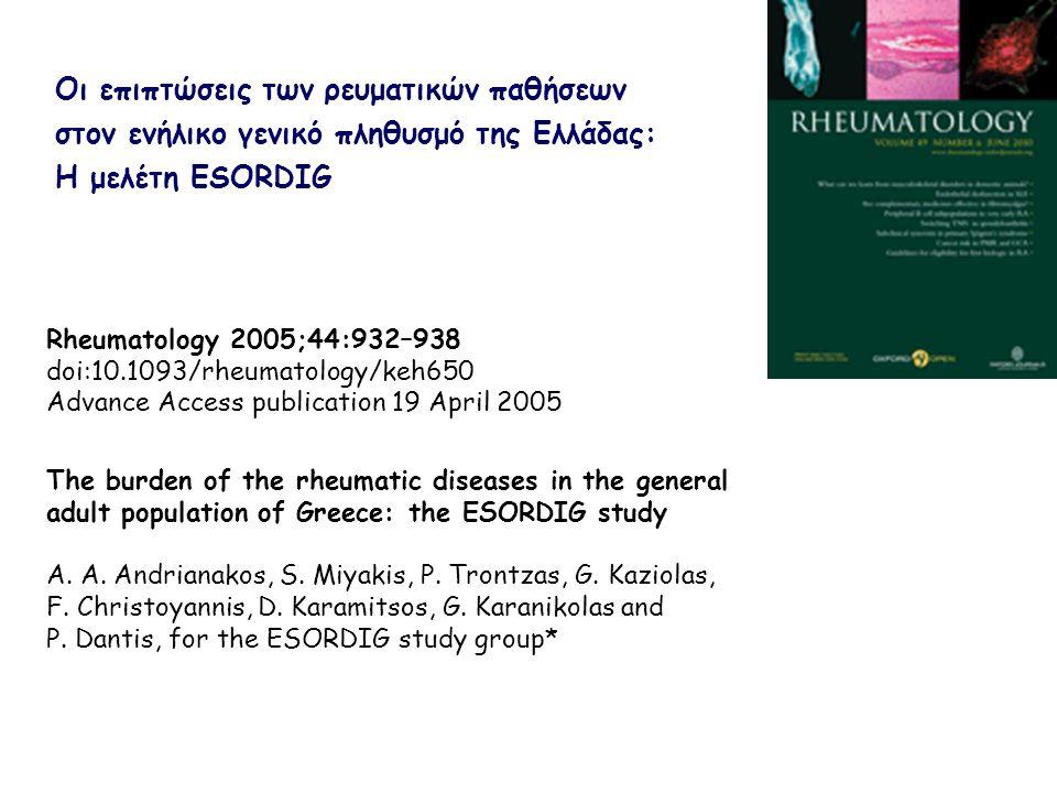 Σειρά κατάταξης των ρευματικών νοσημάτων ως αιτίων νοσηρότητας στον πληθυσμό Μακροχρόνια σωματική ανικανότητα Στο σύνολο Ρευματικά νοσήματα47,2% Καρδιαγγειακά νοσήματα21,7% Στα άτομα ≥66 ετών Ρευματικά νοσήματα41,7% Καρδιαγγειακά νοσήματα31,1%