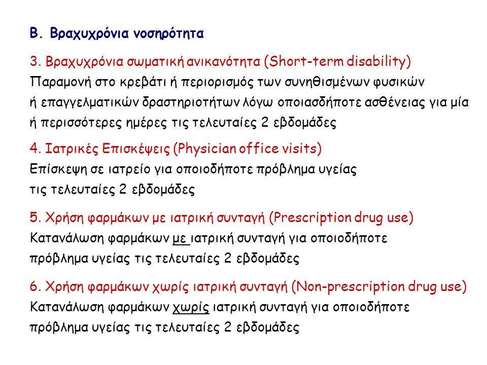 Β. Βραχυχρόνια νοσηρότητα 3. Βραχυχρόνια σωματική ανικανότητα (Short-term disability) Παραμονή στο κρεβάτι ή περιορισμός των συνηθισμένων φυσικών ή επ