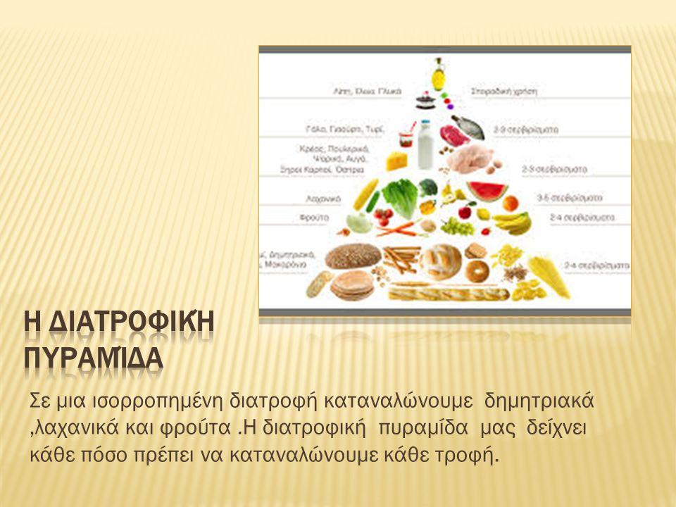 Σε μια ισορροπημένη διατροφή καταναλώνουμε δημητριακά,λαχανικά και φρούτα.Η διατροφική πυραμίδα μας δείχνει κάθε πόσο πρέπει να καταναλώνουμε κάθε τροφή.
