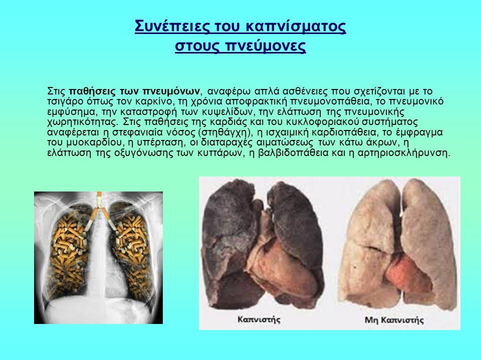 Συνέπειες του καπνίσματος στους πνεύμονες Στις παθήσεις των πνευμόνων, αναφέρω απλά ασθένειες που σχετίζονται με το τσιγάρο όπως τον καρκίνο, τη χρόνι