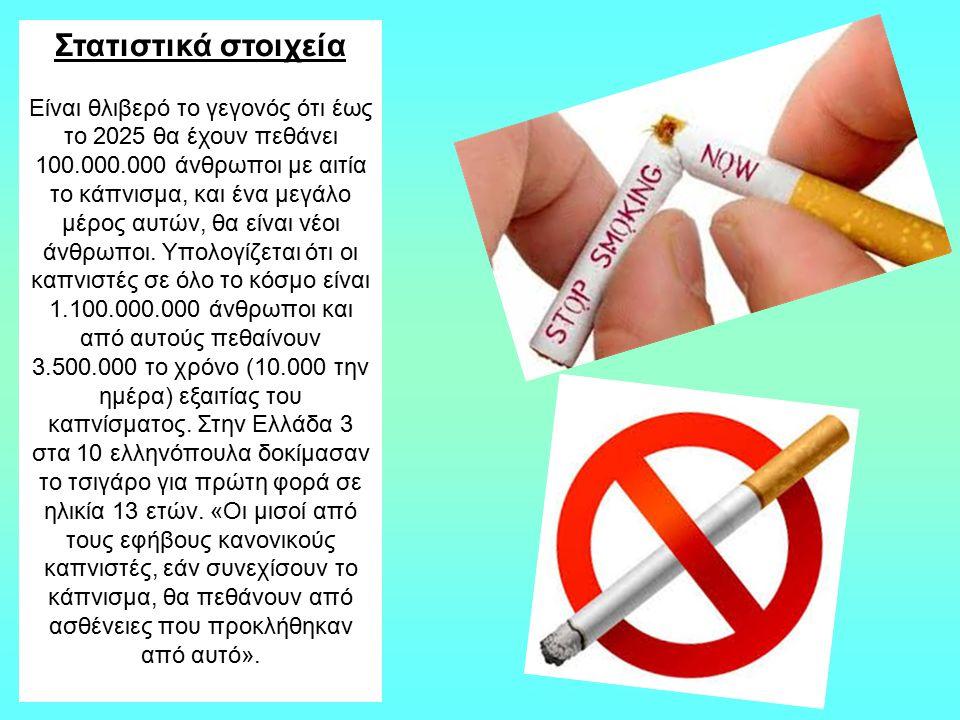 Στατιστικά στοιχεία Είναι θλιβερό το γεγονός ότι έως το 2025 θα έχουν πεθάνει 100.000.000 άνθρωποι με αιτία το κάπνισμα, και ένα μεγάλο μέρος αυτών, θ