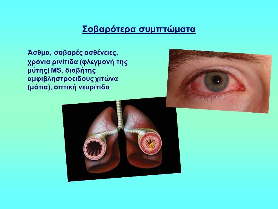 Σοβαρότερα συμπτώματα Άσθμα, σοβαρές ασθένειες, χρόνια ρινίτιδα (φλεγμονή της μύτης) MS, διαβήτης αμφιβληστροειδους χιτώνα (μάτια), οπτική νευρίτιδα.